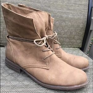 Wanted military moto ankle flat boots tie up 10